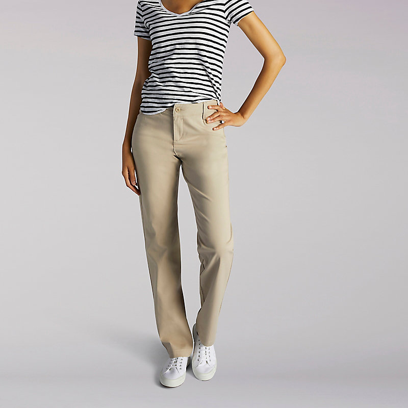 Lee Relaxed Fit Plain Front Pant - Petite