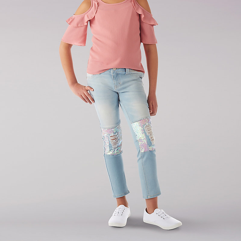 Lee Sequin Patch Ankle Crop Jean - 7-16