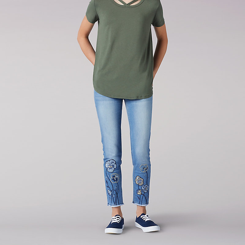 Lee Flower Embroidery Ankle Crop Jeans - 7-16